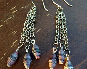 Paper Bead Dangle Earrings - Silver Wire - Silver Chain - Handmade - Upcycled Jewelry