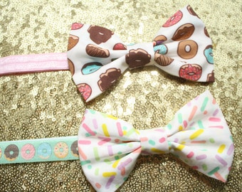 Sweet Sugar Babe, bow headband, baby, children's, girl's, infant, donut, pink, sprinkles headband