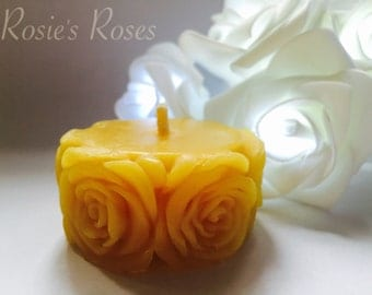 Rose Band Beeswax Candle. Available in Pure Beeswax, and also hand blended with 100% essential oils.