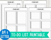 A4/Letter Size To-Do List Set Printable (Basic Black Series) - Instant Download PDF