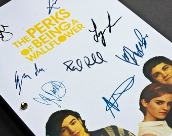 The Perks of Being a Wallflower Film Movie Script with Signatures / Autographs Reprint Unique Gift Christmas Xmas Present Geek Emma Watson