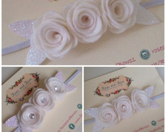 Triple Rose White Flower Christening Baptism Stretch Headband for Baby / Girl in Sizes Newborn -Adult. Also available as a crocodile clip.