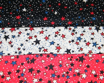 3 FQ Bundle – Red, White & Blue STARS Prints - 100% Cotton Quilt Craft Fabric Fat Quarters