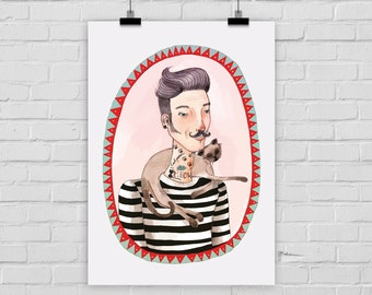 "fine-art print poster ""Catster"" hipster cat illustration"