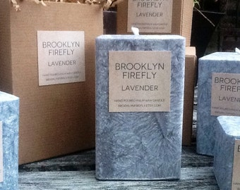 """Lavender Candle. Scented. Palm Wax. 3"""" x 5"""" Square Pillar. Handmade. Gift Idea. Wedding Candles. Shower Gift. Home Decor. Housewarming Gift."""
