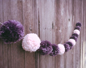 Yarn Pom Pom Garland: Lavender and Soft Pink