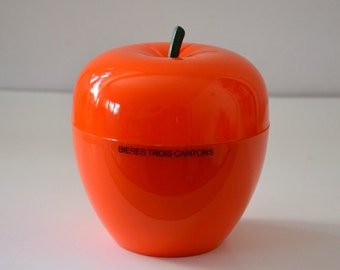 """French Apple Ice bucket - orange seventies - printed """"bière trois cantons"""""""