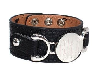 Black Monogram Leather Bracelet