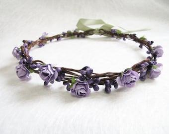Wedding Floral Crown, Purple Flower Headband, Floral Head Wreath, Wedding Headband, Bridesmaid Flower Crown, Flower Girls Flower Crown