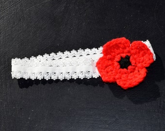 Red Poppy Child's Elastic Headband