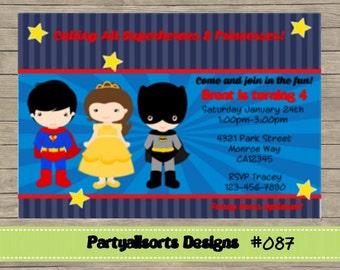 087 DIY - Superhero and Princess Party Invitations Cards.