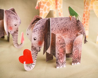 Friendly Elephant, 3D Paper Animal Greeting Card/Sculpture