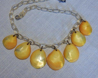 Art Deco Celluloid Necklace with Mother of Pearl Yellow shells