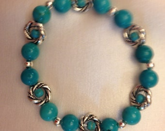 Genuine Turquoise & Tibetan Silver Stretch Bracelet - One of a Kind!