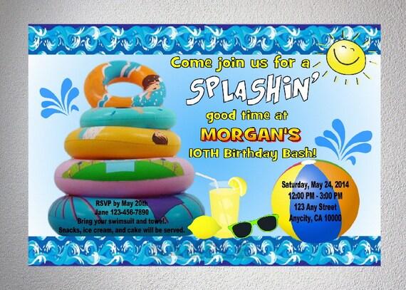 Pool party invitation imprimable splash d t parti inviter for Piscine agl eau blois