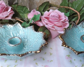Vintage Set Of 2  California Pottery Candle Holder Aqua Blue with Gold Trim