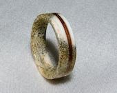Deer Antler Ring, Black Walnut pinstripe inlay, Ring Armor , Waterproof