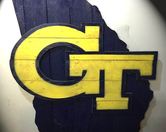 Georgia Tech Rustic Wall Art