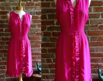 Women's Vintage & Preppy Bright Pink Ruffle Dress