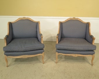 23285E: Pair French Louis XV Style Wide Seat Marguie Bergere Chairs