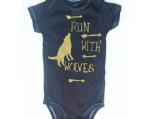 Wolf onesie, Run with wolves unique baby onesie , baby boy, onesie ,or baby girl onesie, wolf baby onesie, arrow onesie, unique onesie