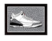 Air Jordan 3 Sneaker Shoe Illustration Poster Print III