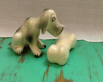 Adorable dog and bone salt and pepper shakers