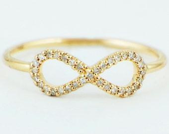 14K Yellow Gold 0.10ct Round Diamond Infinity Band Ring - CUSTOM MADE