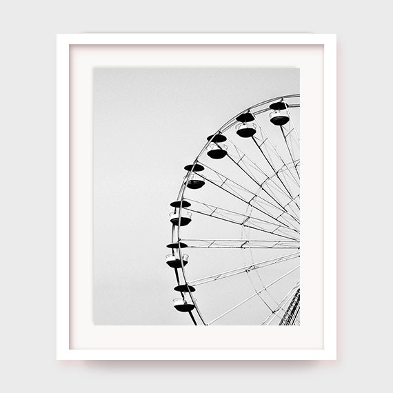 Printable Ferris Wheel Art, Carnival Art, Print, Ferris Wheel Decor, Printable Wall Decor, Black and White, Photography, Carnival Decor