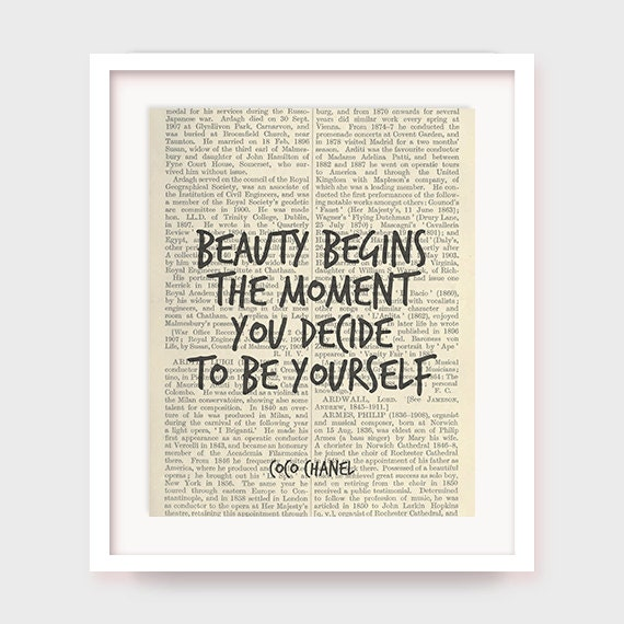 Coco Chanel Decor, Beauty Begins The Moment You Decide to Be Yourself, Coco Chanel Quote Print, Art Printable, Instant Download
