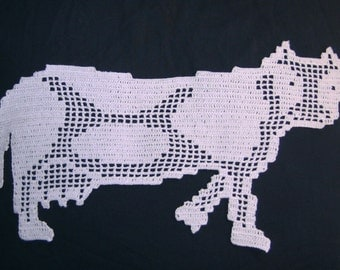 Cow place mat ornamental hook. New hand-made French textile art.