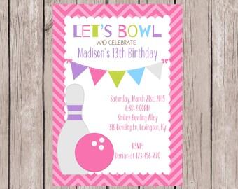 PRINTABLE- 13th Birthday Bowling Party Invite- Bowling Birthday Invite- Birthday Invite- Bowling Party Invite- 5x7 JPG