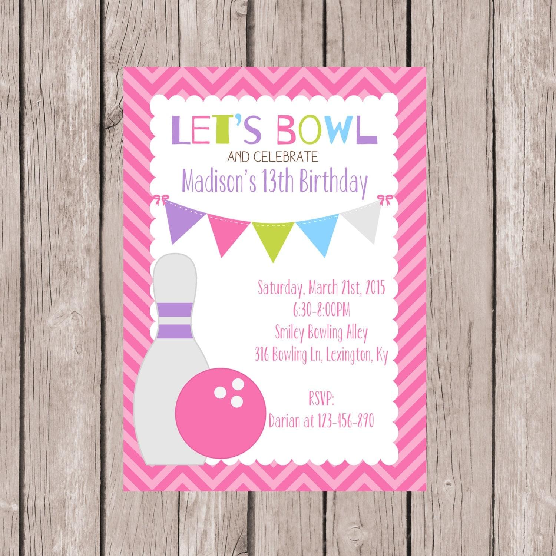 PRINTABLE 13th Birthday Bowling Party Invite Bowling