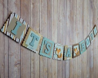 Fox Baby Shower Banner, Baby Boy Shower Banner,Fox Shower Sign, Fox Banner,Fox Baby Shower Decoration,Boy Fox Shower