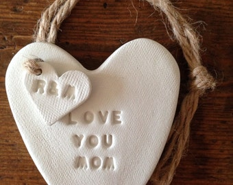 Love You Mum or Love You Mom: white clay heart with personalised heart tag ~ custom Mother's Day gift or birthday gift