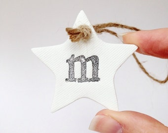 Alphabet decoration ~ use as nursery decor or for decorating presents ~ new baby gift ~ wedding favors ~ clay stars ~ clay tag ~ gift tag