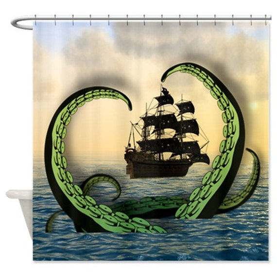Cool nautical shower curtain octopus vs pirate ship shower curtain