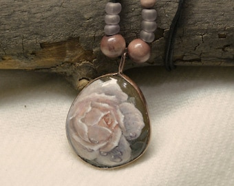 Two Sided Original Hand Painted Stone Necklace (Front -  Rose in Peach Color , Back - Lavander)
