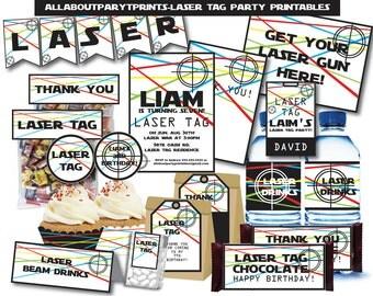 PDF format-Instant Download- Laser Party Printables - Complete party parintables