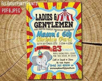 Circus Carnival birthday themed birthday invitation card printable -Turnaround time 24 hours!-digital file