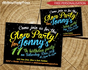 Glow-Neon Birthday Invitation- Invitation Printable-digital file