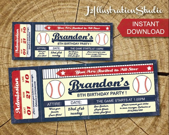 Items similar to 2nd Invite new photo / name on Etsy  |Blank Baseball Game Ticket