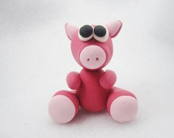 Miniature pig figurine, polymer clay pig, polymer clay figurine, polymer clay miniature, cute pig figurine, tiny pig figurine, pink pig