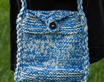 Blue and Cream Hand Knitted Shoulder Bag, knitted bag, hand knitted bag,
