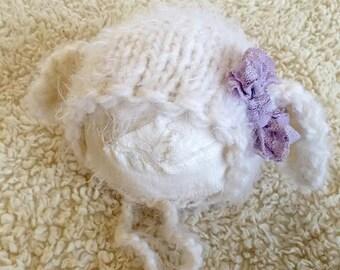 new born white mohair lamb bonnet,toddler bonnet sitter lamb bonnet,cistom order