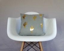 Gray Linen Gold Cactus Pillow Cover Cushion Organic Natural Linen Gilded Gold Leaf Foil Southwestern Neutral Pop Design Home Decor Bright