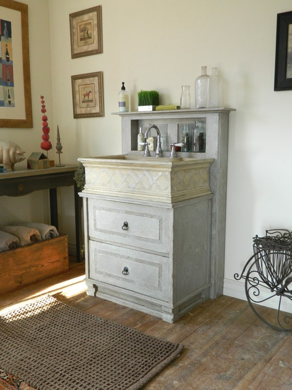 French country bathroom vanity and sink with matching mirror - Country french bathroom vanities ...