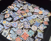 Lot of 12 pc Mini Azulejo Tile Majolica Replicas Antique Gold Spanish Charms Jewelry Miniature 13 mm Supplies Multicolor Connectors Findings