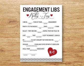 Engagement Libs, Mad Libs, Engagement Party Printable, Guestbook Alternative, Printable, Guest Libs, Guest Book, Engagement Party Game