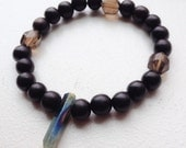 Gemstone Beaded Stretchy Bracelet Ebony Wood/ Smoky Quartz/ Rainbow Titanium